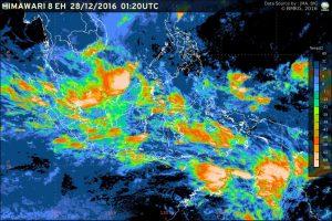 Pantauan atmosfir, Wilayah Jawa timur berpotensi hujan lebat